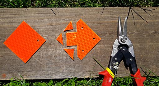 Did you know trail markers can be transformed into a directional arrow using your next-door neighbour's sheet metal snips?